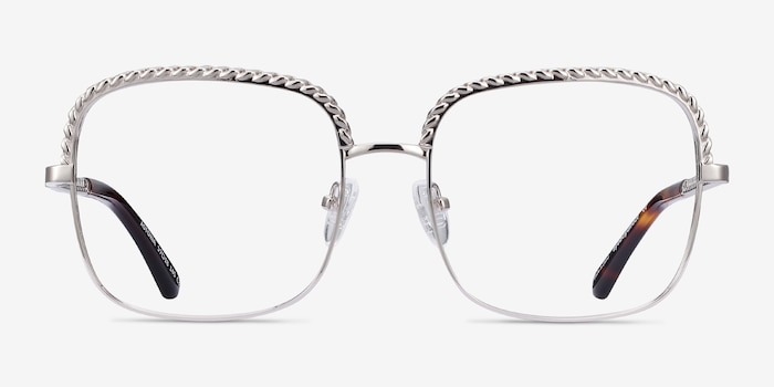 Astoria Silver Metal Eyeglass Frames from EyeBuyDirect, Front View