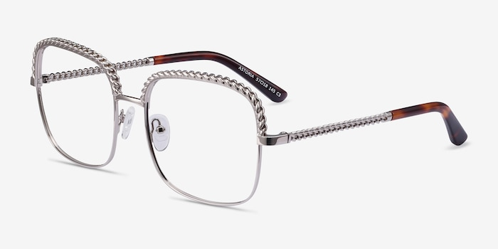 Astoria Silver Metal Eyeglass Frames from EyeBuyDirect, Angle View