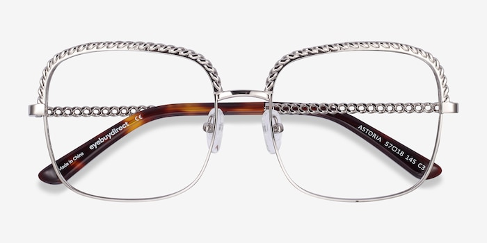 Astoria Silver Metal Eyeglass Frames from EyeBuyDirect, Closed View