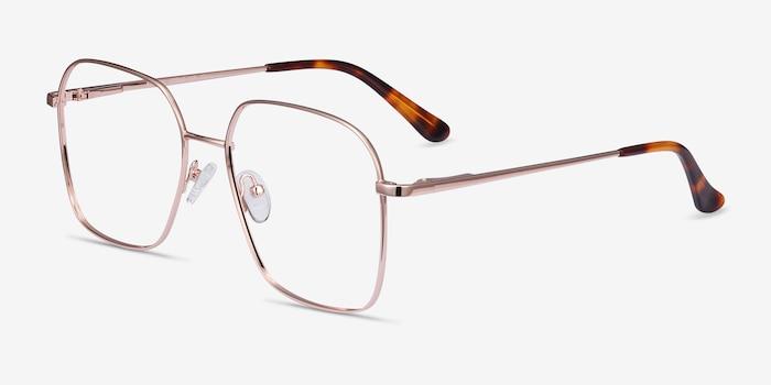 Roman Rose Gold Metal Eyeglass Frames from EyeBuyDirect, Angle View