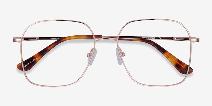 Roman Rose Gold Metal Eyeglass Frames from EyeBuyDirect, Closed View