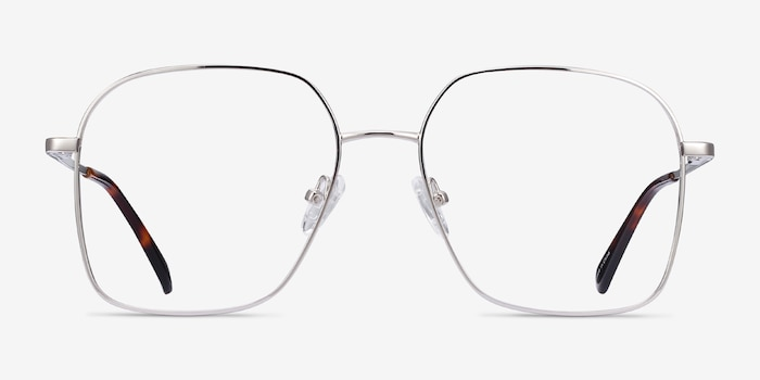 Roman Silver Metal Eyeglass Frames from EyeBuyDirect, Front View