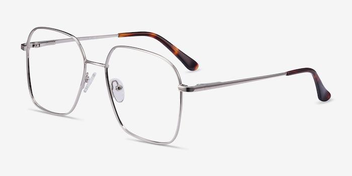 Roman Silver Metal Eyeglass Frames from EyeBuyDirect, Angle View