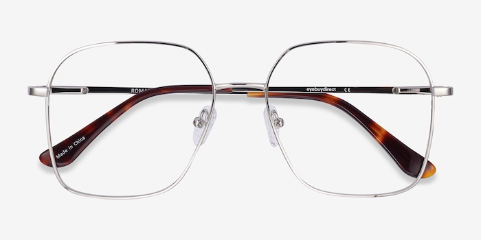 Roman Silver Metal Eyeglass Frames from EyeBuyDirect, Closed View