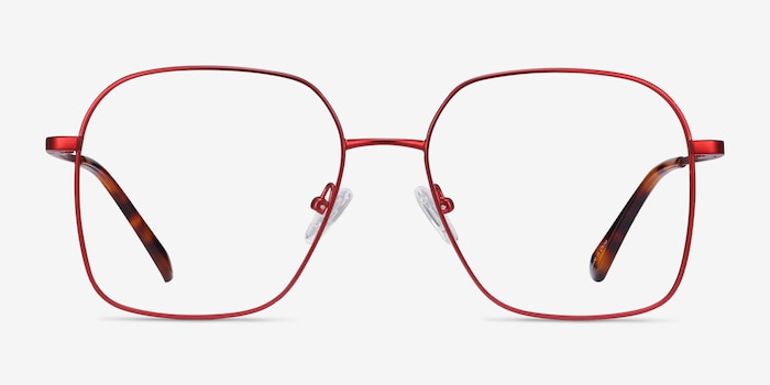 Roman Red Metal Eyeglass Frames from EyeBuyDirect, Front View