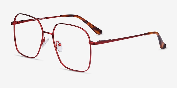 Roman Red Metal Eyeglass Frames from EyeBuyDirect, Angle View