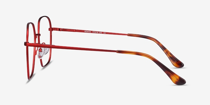 Roman Red Metal Eyeglass Frames from EyeBuyDirect, Side View