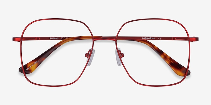 Roman Red Metal Eyeglass Frames from EyeBuyDirect, Closed View