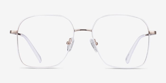 Arty White & Gold Metal Eyeglass Frames from EyeBuyDirect, Front View