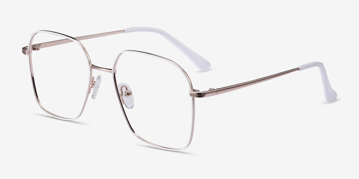 Arty White & Gold Metal Eyeglass Frames from EyeBuyDirect, Angle View
