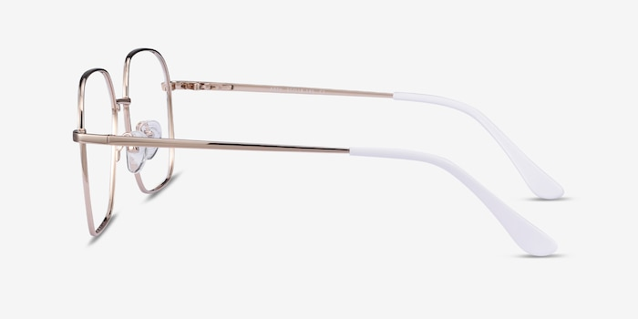Arty White & Gold Metal Eyeglass Frames from EyeBuyDirect, Side View