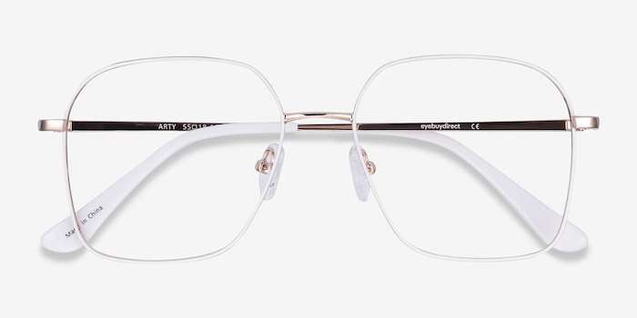 Arty White & Gold Metal Eyeglass Frames from EyeBuyDirect, Closed View
