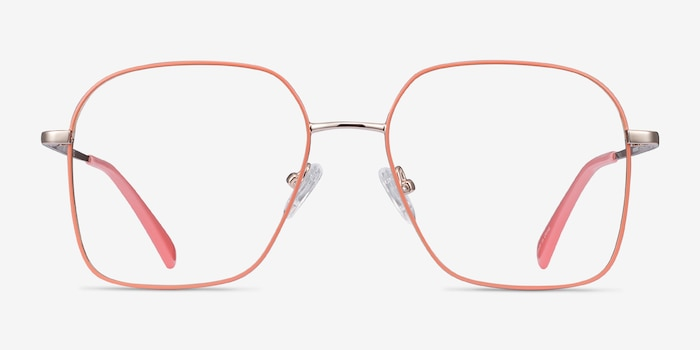 Arty Coral & Gold Metal Eyeglass Frames from EyeBuyDirect, Front View