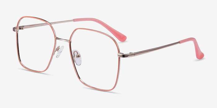 Arty Coral & Gold Metal Eyeglass Frames from EyeBuyDirect, Angle View