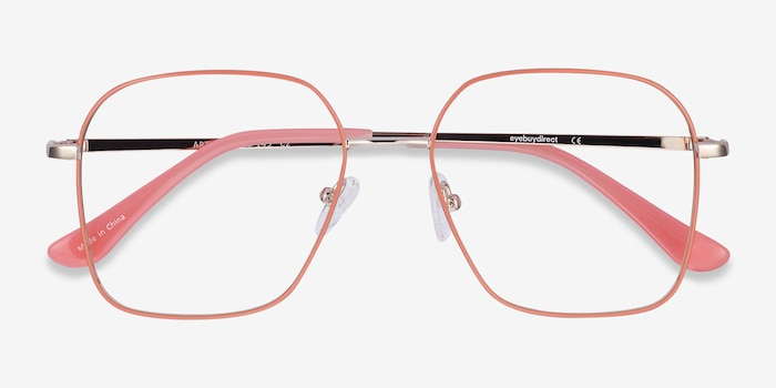 Arty Coral & Gold Metal Eyeglass Frames from EyeBuyDirect, Closed View