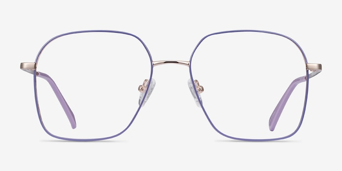 Arty Purple & Gold Metal Eyeglass Frames from EyeBuyDirect, Front View