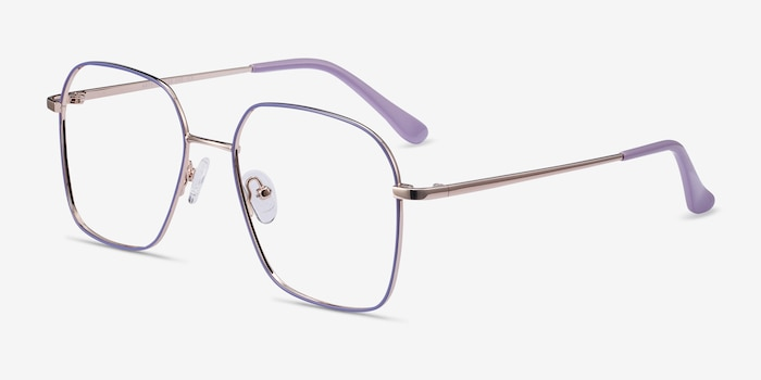 Arty Purple & Gold Metal Eyeglass Frames from EyeBuyDirect, Angle View