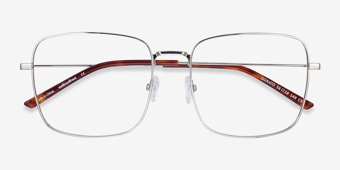 Dorato Silver Metal Eyeglass Frames from EyeBuyDirect, Closed View