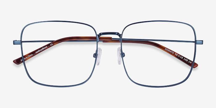 Dorato Navy Metal Eyeglass Frames from EyeBuyDirect, Closed View