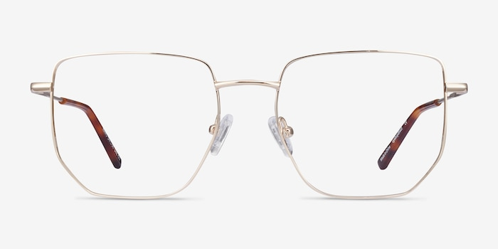 Rhys Gold Metal Eyeglass Frames from EyeBuyDirect, Front View
