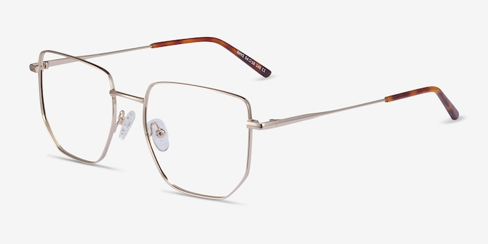 Rhys Gold Metal Eyeglass Frames from EyeBuyDirect, Angle View