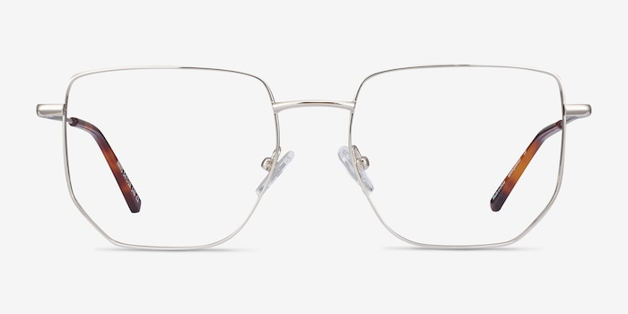 Rhys Silver Metal Eyeglass Frames from EyeBuyDirect, Front View