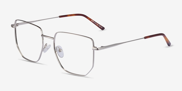 Rhys Silver Metal Eyeglass Frames from EyeBuyDirect, Angle View