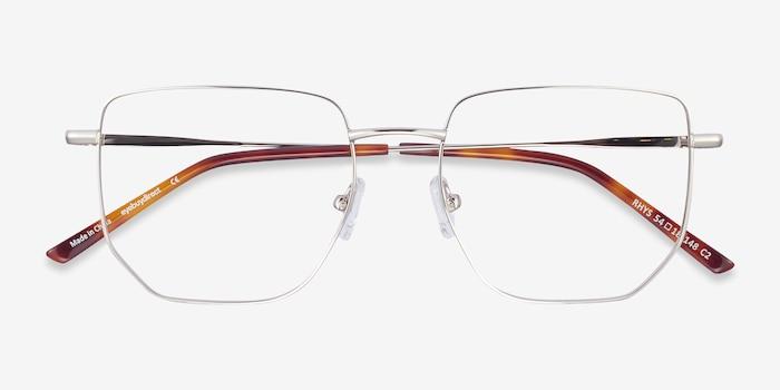 Rhys Silver Metal Eyeglass Frames from EyeBuyDirect, Closed View