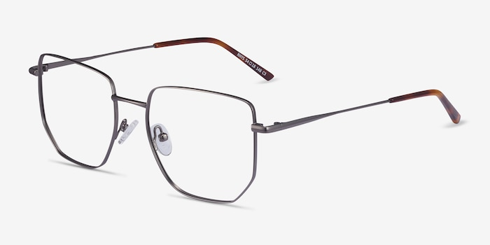 Rhys Gunmetal Metal Eyeglass Frames from EyeBuyDirect, Angle View