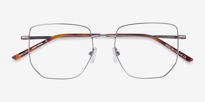 Rhys Gunmetal Metal Eyeglass Frames from EyeBuyDirect, Closed View