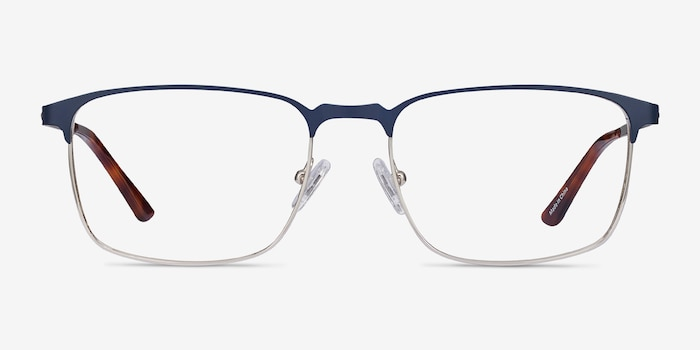 Oswald Navy Metal Eyeglass Frames from EyeBuyDirect, Front View