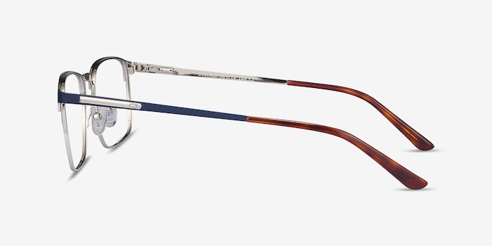 Oswald Navy Metal Eyeglass Frames from EyeBuyDirect, Side View