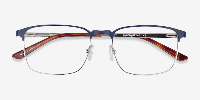 Oswald Navy Metal Eyeglass Frames from EyeBuyDirect, Closed View