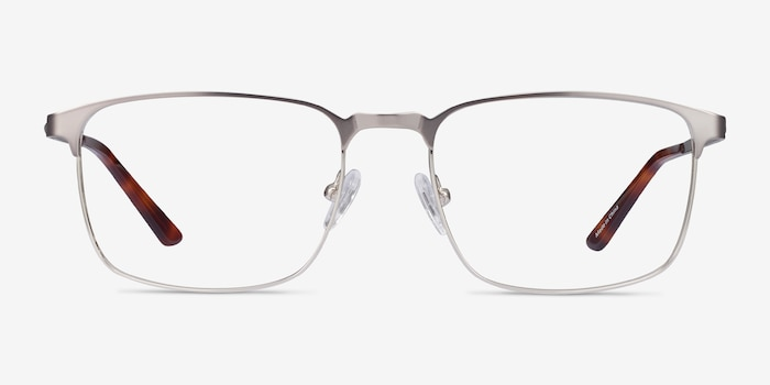 Oswald Gunmetal Metal Eyeglass Frames from EyeBuyDirect, Front View