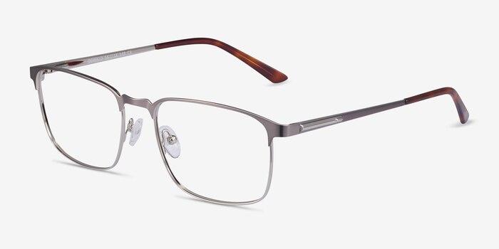 Oswald Gunmetal Metal Eyeglass Frames from EyeBuyDirect, Angle View