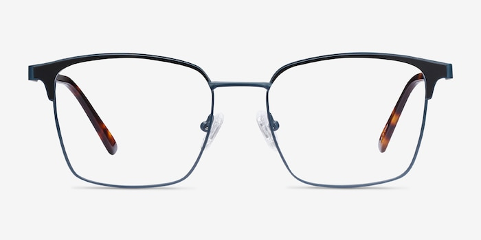 Demy Navy & Black Metal Eyeglass Frames from EyeBuyDirect, Front View