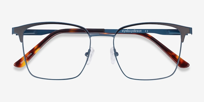 Demy Navy & Black Metal Eyeglass Frames from EyeBuyDirect, Closed View