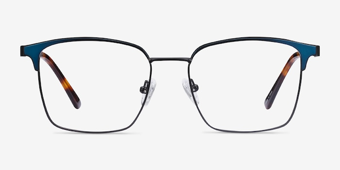 Demy Black & Navy Metal Eyeglass Frames from EyeBuyDirect, Front View