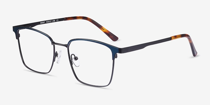 Demy Black & Navy Metal Eyeglass Frames from EyeBuyDirect, Angle View