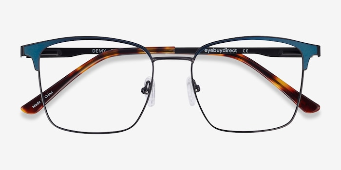 Demy Black & Navy Metal Eyeglass Frames from EyeBuyDirect, Closed View