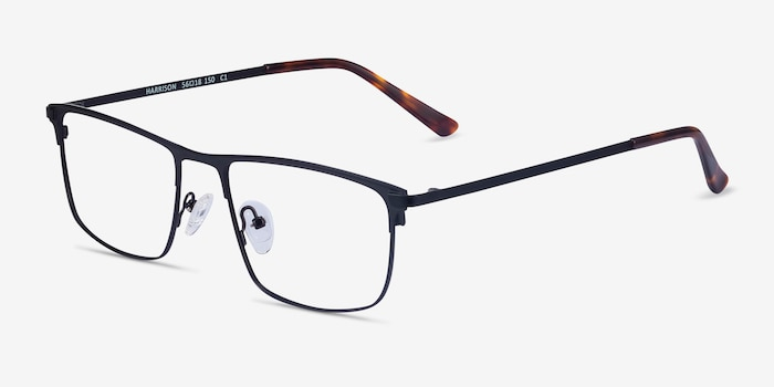 Harrison Black Metal Eyeglass Frames from EyeBuyDirect, Angle View