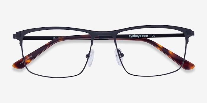 Harrison Black Metal Eyeglass Frames from EyeBuyDirect, Closed View