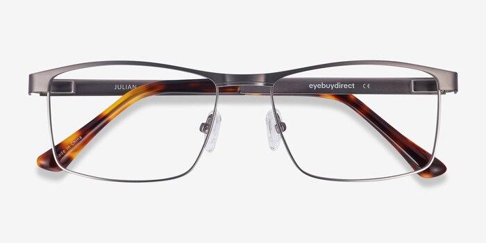Julian Gunmetal Metal Eyeglass Frames from EyeBuyDirect, Closed View