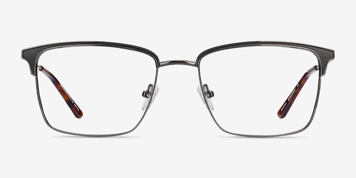 Nathaniel Black Metal Eyeglass Frames from EyeBuyDirect, Front View