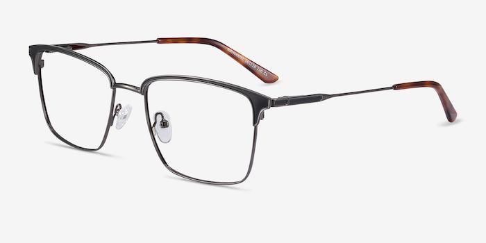 Nathaniel Black Metal Eyeglass Frames from EyeBuyDirect, Angle View