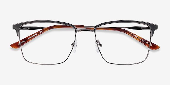 Nathaniel Black Metal Eyeglass Frames from EyeBuyDirect, Closed View