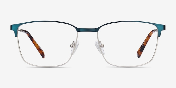 Leopold Navy Metal Eyeglass Frames from EyeBuyDirect, Front View