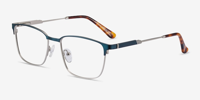 Leopold Navy Metal Eyeglass Frames from EyeBuyDirect, Angle View