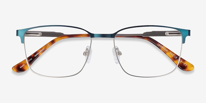 Leopold Navy Metal Eyeglass Frames from EyeBuyDirect, Closed View