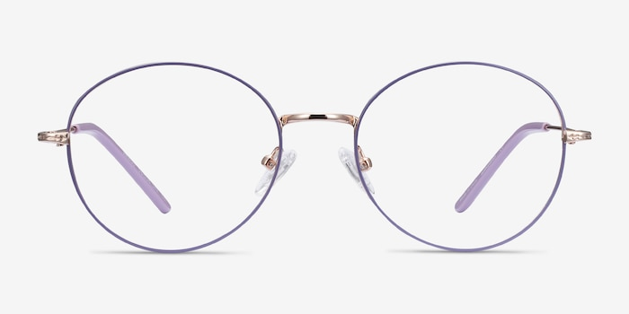 Arbus Purple & Gold Metal Eyeglass Frames from EyeBuyDirect, Front View